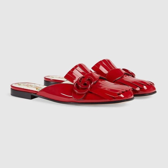 Gucci patent leather red slipper